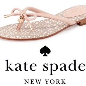 Kate Spade Mystic Bow Leather Flip Flops in Blush